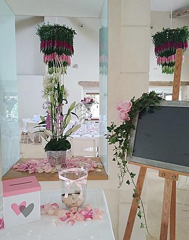 Décoration florale pour réception lors d'un mariage